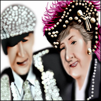 An elderly couple wearing pearly suits.
