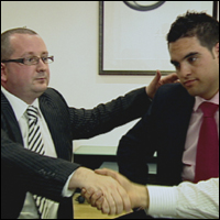 Andy Jackson and Adam Hosker from The Apprentice break the ice.