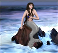 A mermaid - half-woman/half-fish - sits on the rocks as waves crash onto the shore behind her.