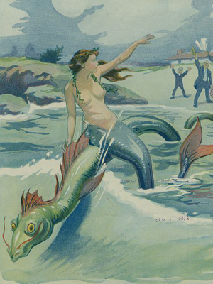 A mermaid riding a sea monster