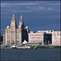 The Liverpool skyline along the River Mersey.