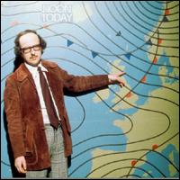 Michael Fish, a famous BBC former weather forecaster, in front of a weather chart showing Atlantic fronts.