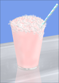 A strawberry milkshake and a straw, resting on a shiny metallic surface.