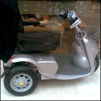 A mobility scooter.