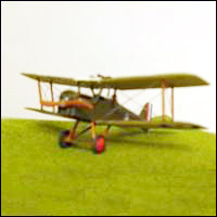 A model biplane complete with rigging.