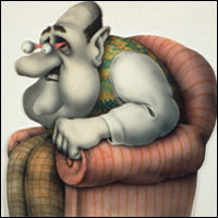 Monty Python artwork by Terry Gilliam of a man in an armchair with eyes popping out of his head.