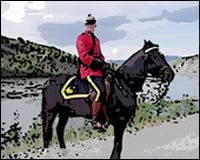 A Mountie on horseback.