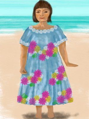 A large lady wearing a Hawaiian muumuu.