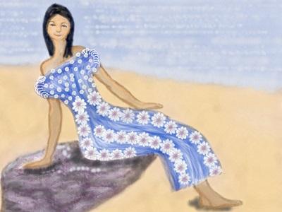 A slim hawaiian girl dressed in a flowery muumuu.