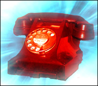 A red telephone beaming with mystery