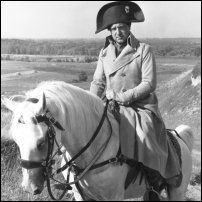 Actor David Swift as Napoleon in a 1972 production of 'War and Peace', on an unnamed horse.