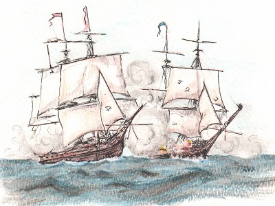 Two sailing ships engaged in battle at sea.