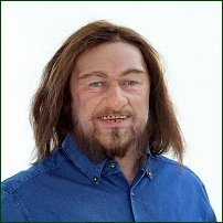 Alan Titchmarsh, made up to look like Neanderthal man in 'British Isles: A Natural History', 2004.