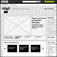 First draft of wireframe for proposed h2g2 homepage redesign.