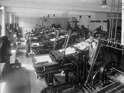 Contemporary photo of an old printing press.