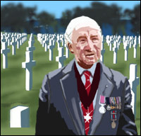A veteran of the Normany Landings stands in front of a cemetery.