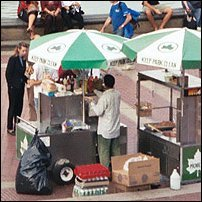 A New York City food stand.