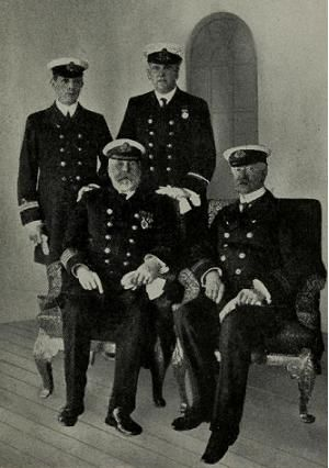 Captain Smith and the officers of RMS Titanic.