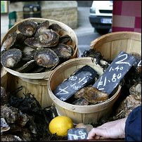 Oysters on sale at Borough Market in London.