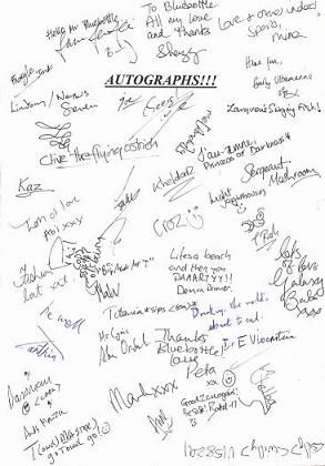 A page full of autographs.