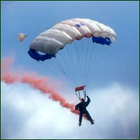 A parachute – - surely the best way to fall out of a plane (especially with a brightly-coloured flare attached to you).