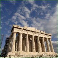 The most famous Greek temple, the Parthenon, on the sacred rock of the Acropolis.
