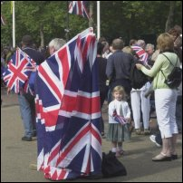 Britons with Union Flags.