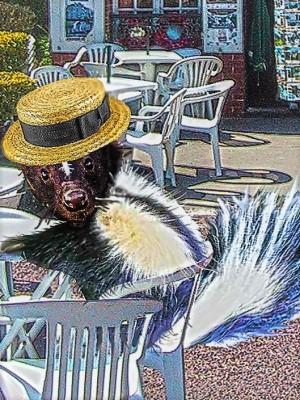 A straw-boater-wearing skunk sitting in a cafe