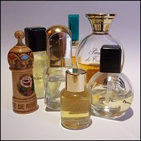 A selection of perfume bottles.