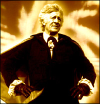 Jon Pertwee strikes a dramatic pose as Doctor Who.