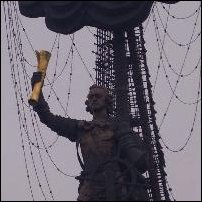 Close-up of the monumentally disgusted Peter the Great.