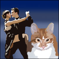 A couple dancing a tango and a cat called Oscar.