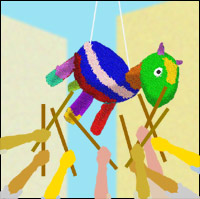 Hands brandishing sticks beating a donkey-shaped Pinata, which is suspended in the air