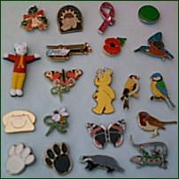 A selection of charity pin badges.