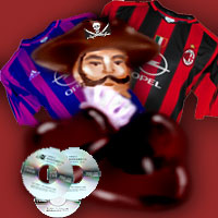 A traditional pirate surrounded by bootlegged merchandising such as football shirts and CDs.
