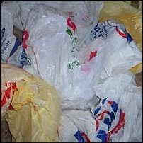 Some plastic bags ready to be recycled.