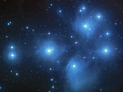Image of the Pleiades, provided by NASA and STScI.