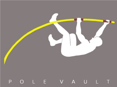 Male figure doing pole vault.