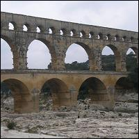 The Roman Aqueduct, the Pont-du-Gard, in the South of France.