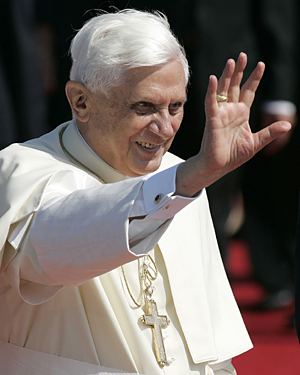 Pope Benedict XVI waving to crowds during a visit to Cologne, Germany, in 2005