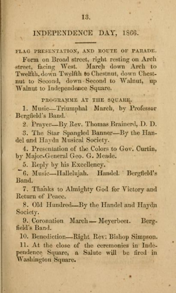 1866 Independence Day parade schedule from Philadelphia