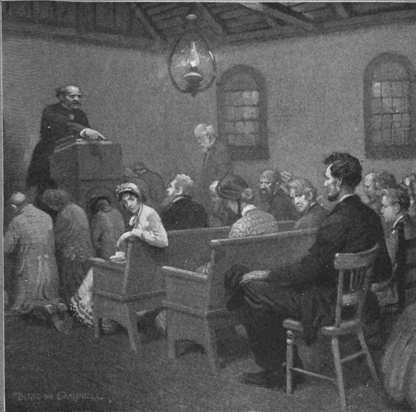 Abraham Lincoln being discussed in a revival meeting, by Blenden Campbell