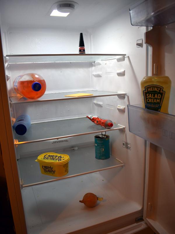An all-but empty fridge