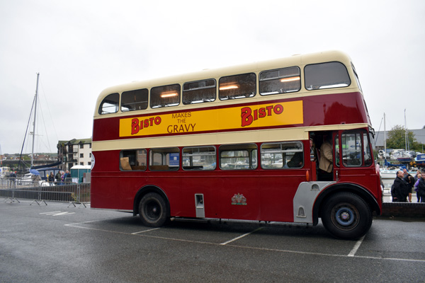 A picture of a classic double decker bus advertising Bisto