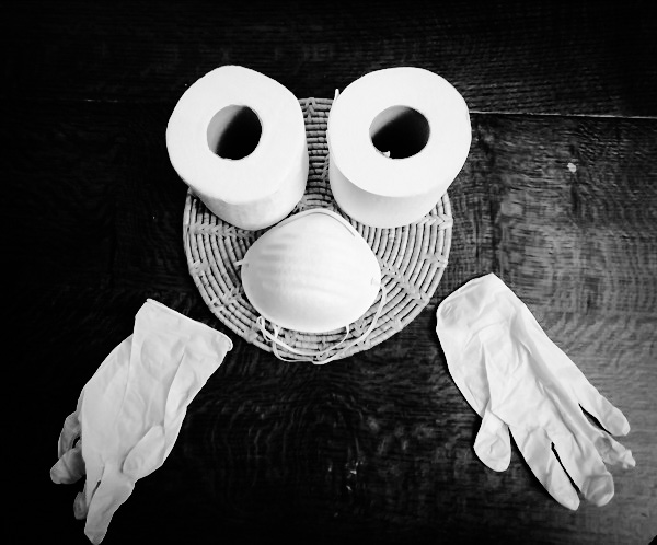 Toilet Paper Face with Mask and Gloves by Paigetheoracle