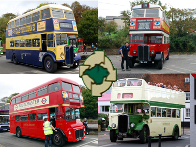 Four historic buses