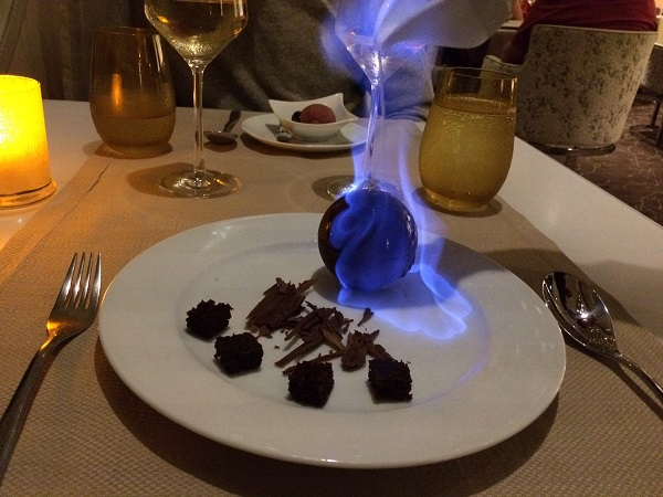 A flambe dessert.