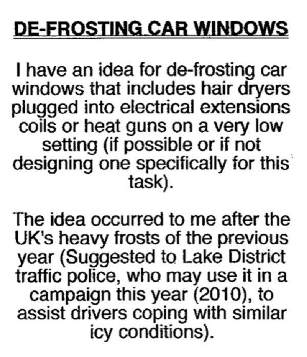A suggestion about defrosting car windows.