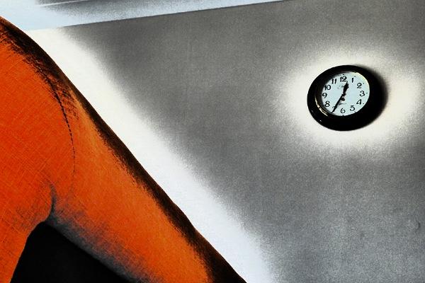 Station Clock and Orange Sofa by Cactuscafe