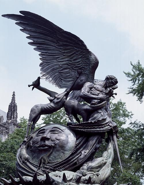Statue of Good and Evil, part of the Peace Fountain outside the Cathedral of St. John the Divine, New York, New York